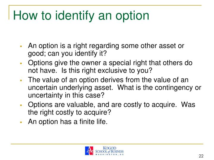 How to identify an option