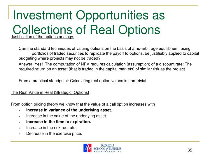 Investment Opportunities as Collections of Real Options