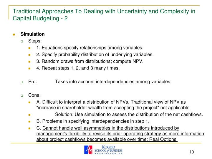 Traditional Approaches To Dealing with Uncertainty and Complexity in Capital Budgeting - 2