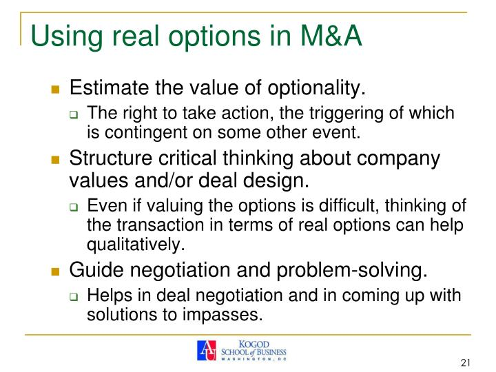 Using real options in M&A