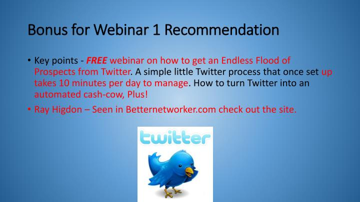 Bonus for webinar 1 recommendation