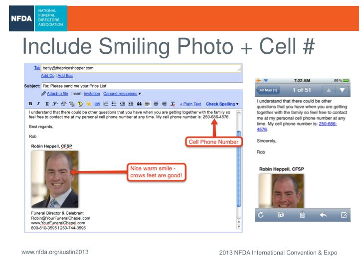 Include Smiling Photo + Cell #