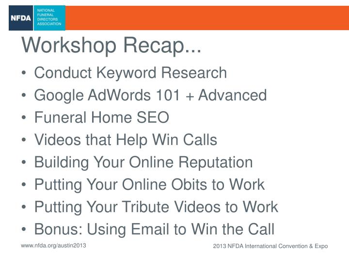 Workshop Recap...