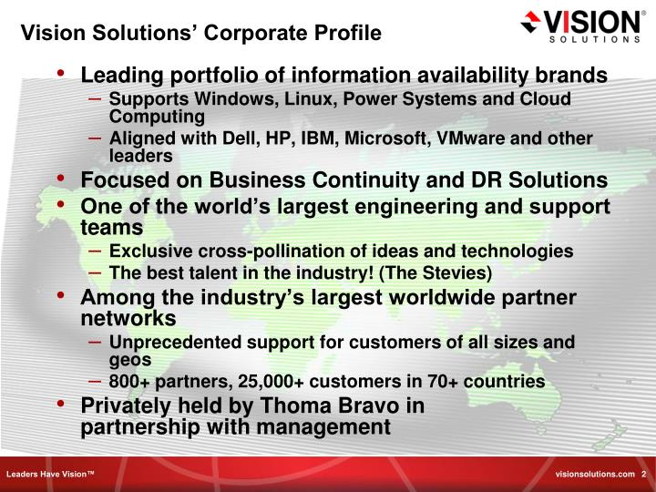 Vision Solutions' Corporate Profile