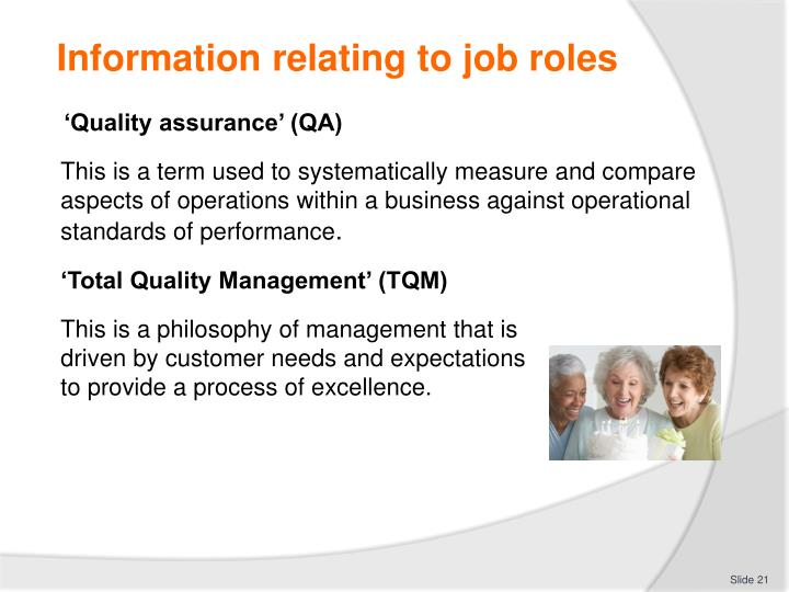 Information relating to job roles
