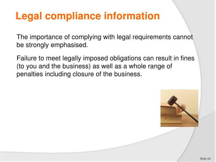 Legal compliance information