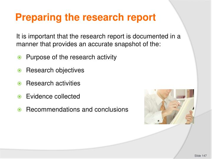 Preparing the research report