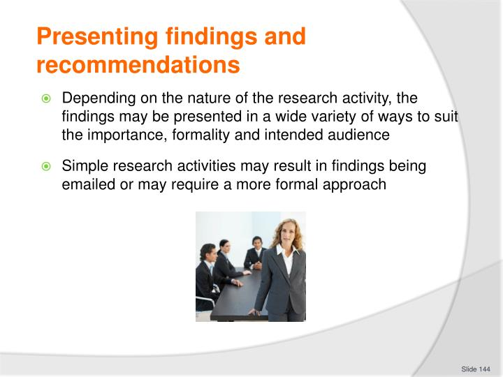 Presenting findings and recommendations