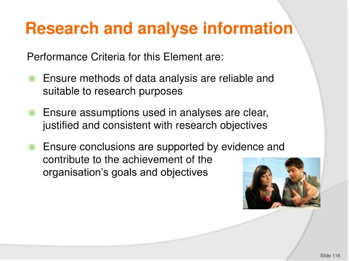 Research and analyse information