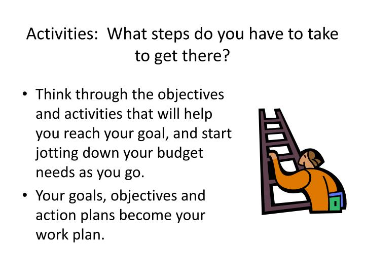 Activities:  What steps do you have to take to get there?