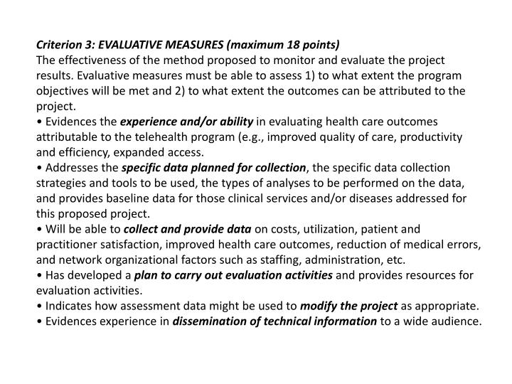 Criterion 3: EVALUATIVE MEASURES (maximum 18 points)