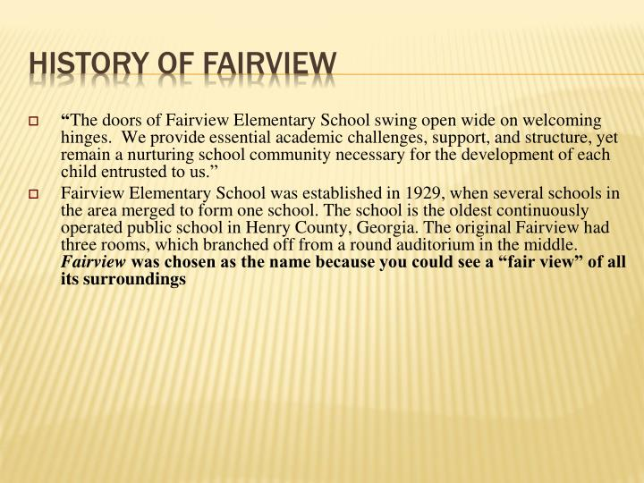 History of fairview