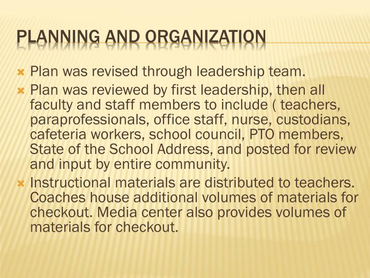 Plan was revised through leadership team.