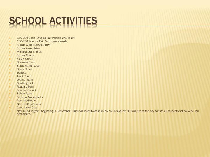 150-200 Social Studies Fair Participants Yearly