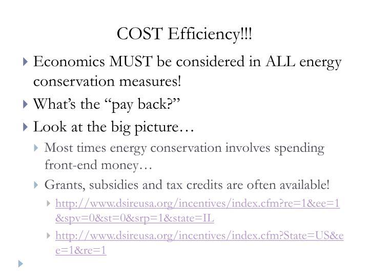 COST Efficiency!!!