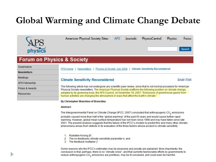 Global Warming and Climate Change Debate