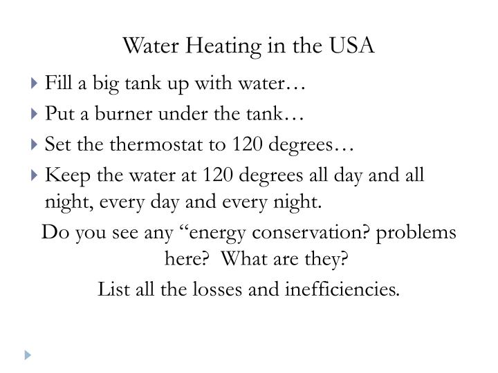 Water Heating in the USA