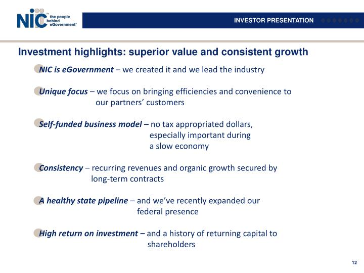 Investment highlights: superior value and consistent growth