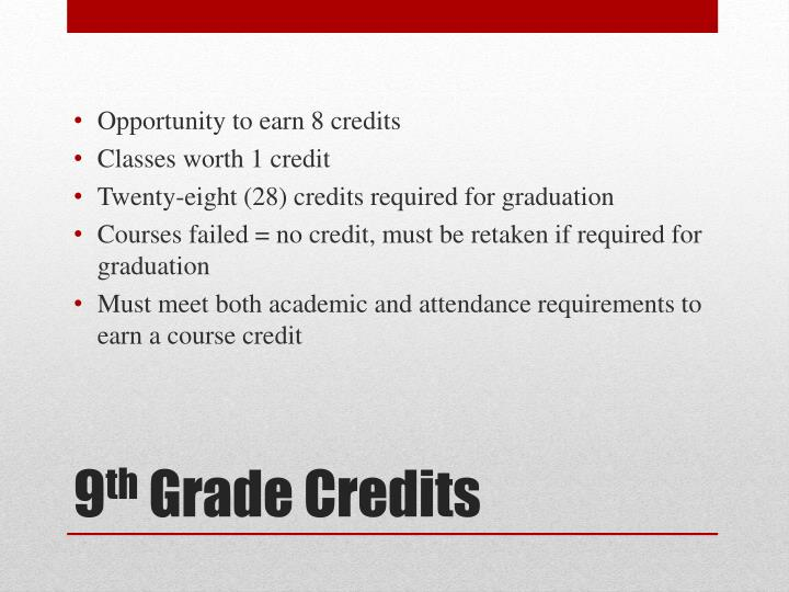 Opportunity to earn 8 credits