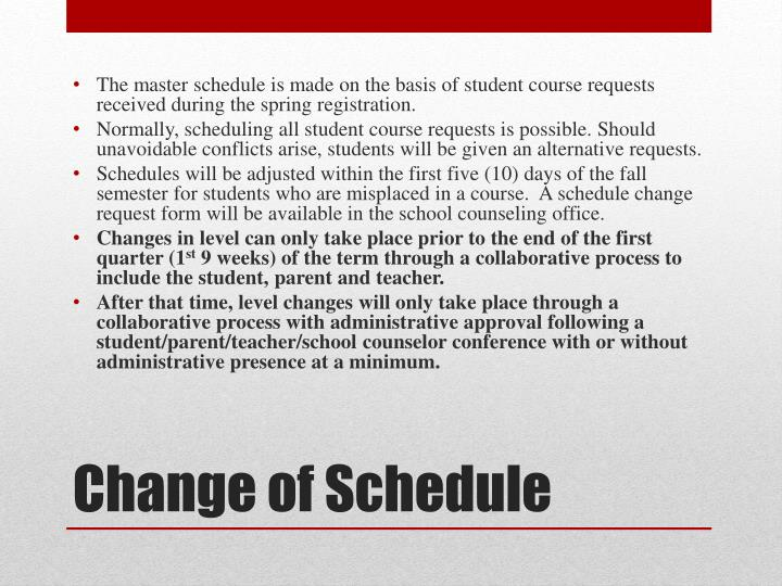 The master schedule is made on the basis of student course requests received during the spring registration.