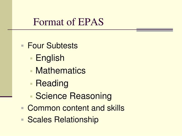 Format of EPAS