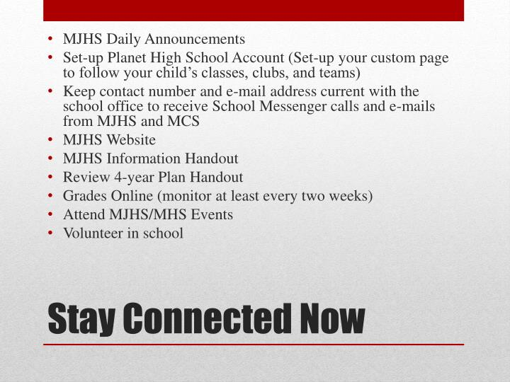 MJHS Daily Announcements