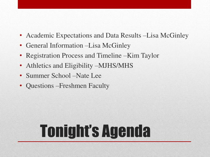 Academic Expectations and Data Results –Lisa McGinley