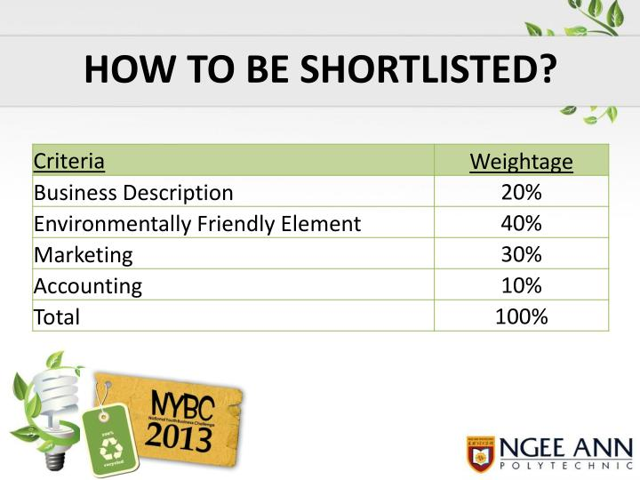 HOW TO BE SHORTLISTED?