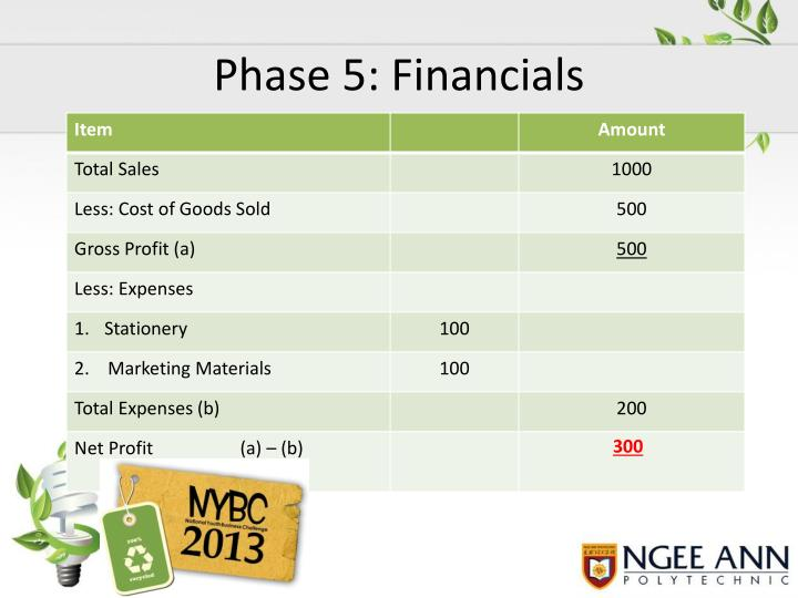 Phase 5: Financials