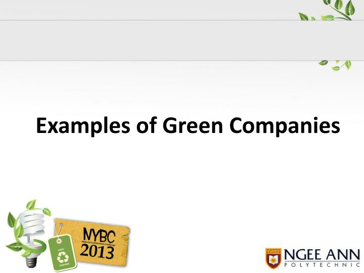 Examples of Green Companies
