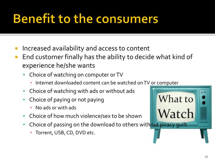 Benefit to the consumers