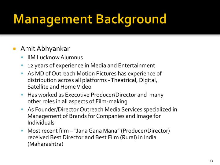 Management Background