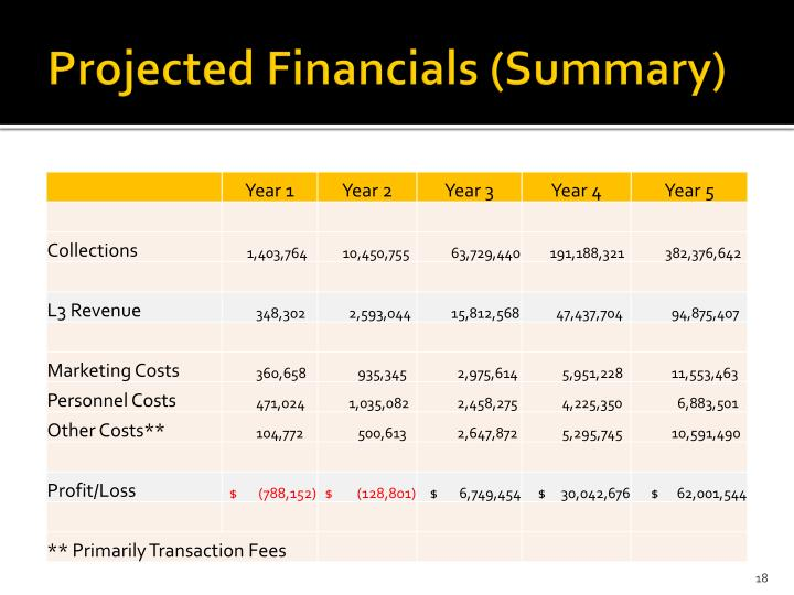 Projected Financials (Summary)