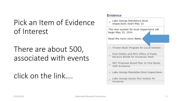 Pick an Item of Evidence of Interest
