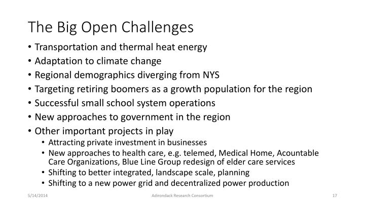 The Big Open Challenges