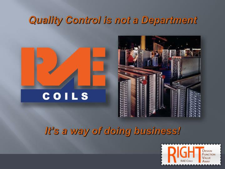Quality Control is not a Department