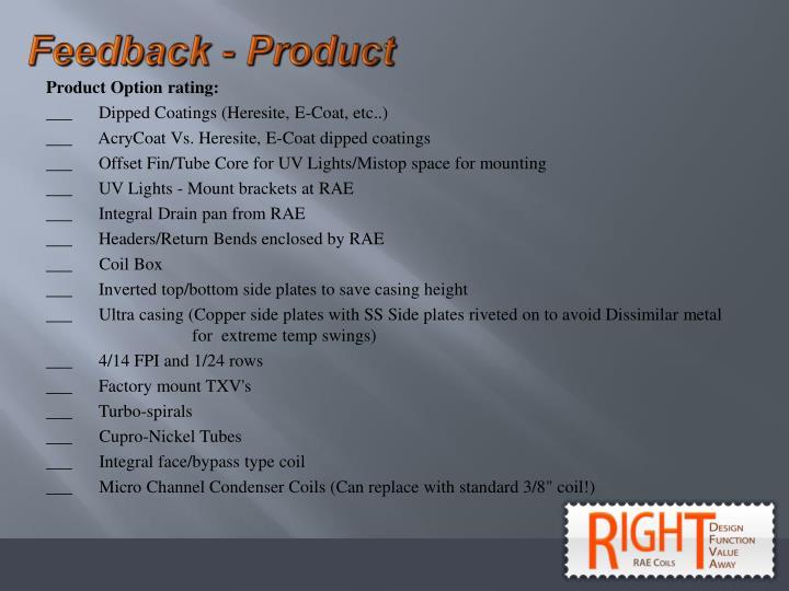 Feedback - Product