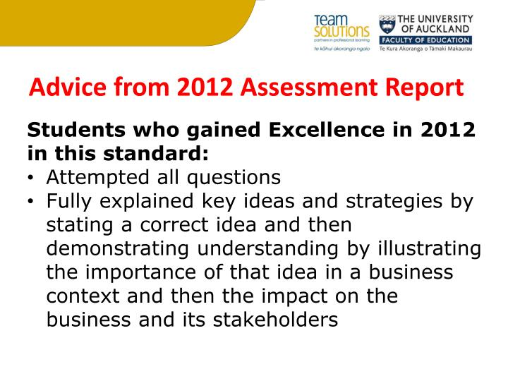 Advice from 2012 Assessment Report