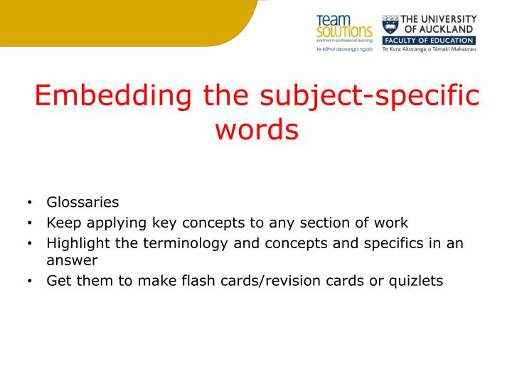 Embedding the subject-specific words