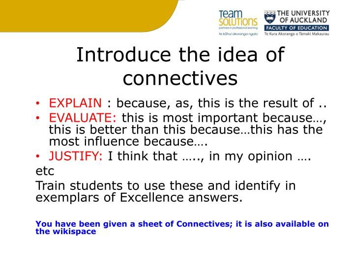 Introduce the idea of connectives