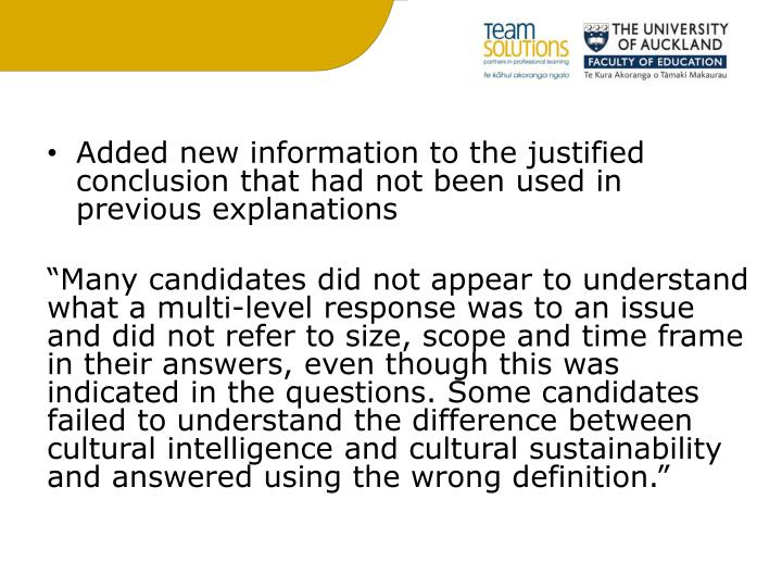 Added new information to the justified conclusion that had not been used in previous