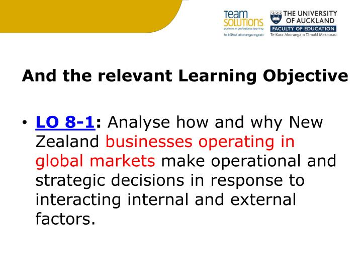 And the relevant Learning Objective