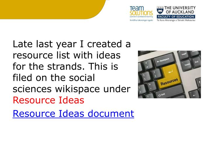 Late last year I created a resource list with ideas for the strands. This is filed on the social sciences