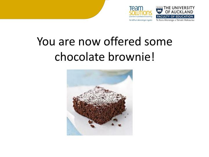 You are now offered some chocolate brownie!