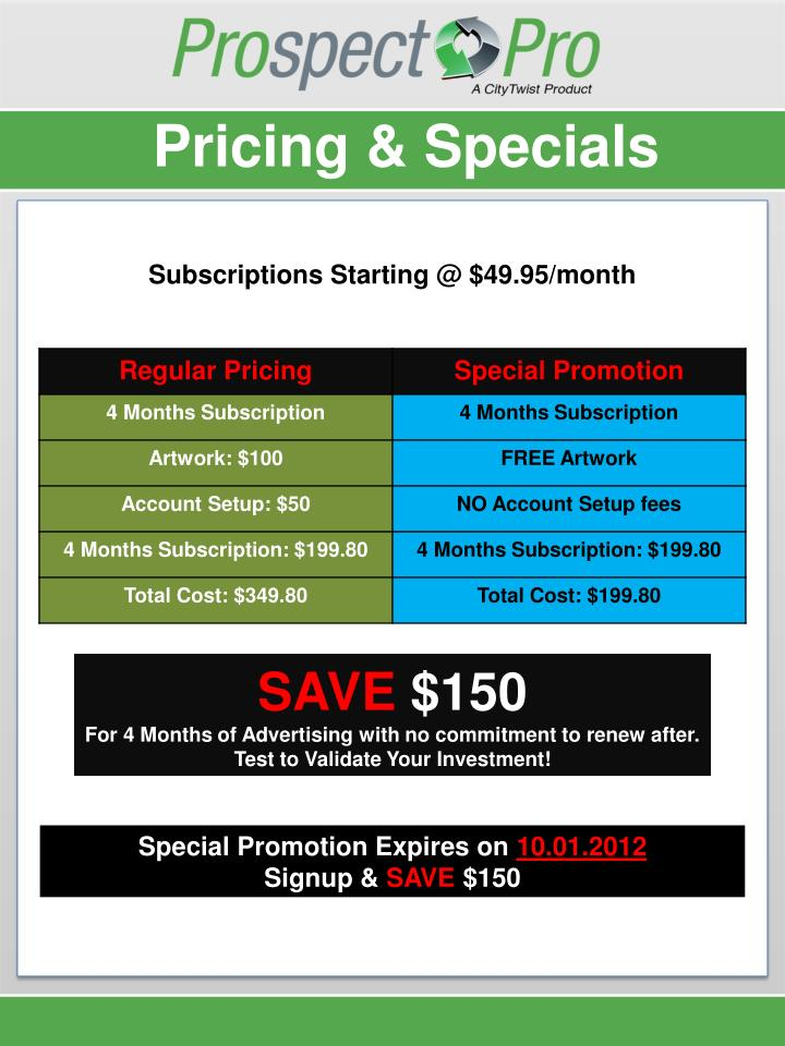 Pricing & Specials