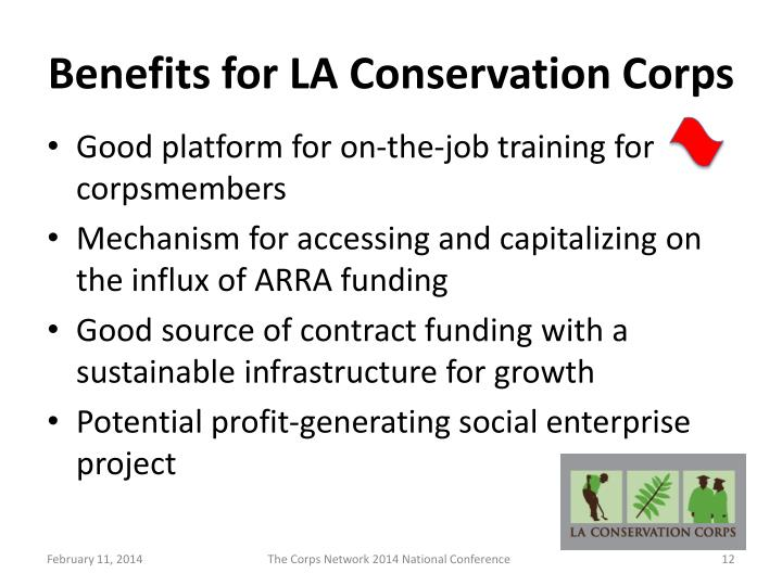 Benefits for LA Conservation Corps
