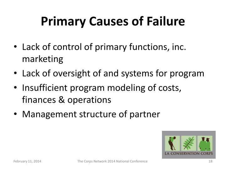 Primary Causes of Failure