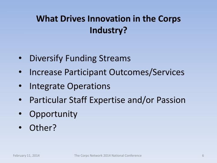 What Drives Innovation in the Corps Industry?