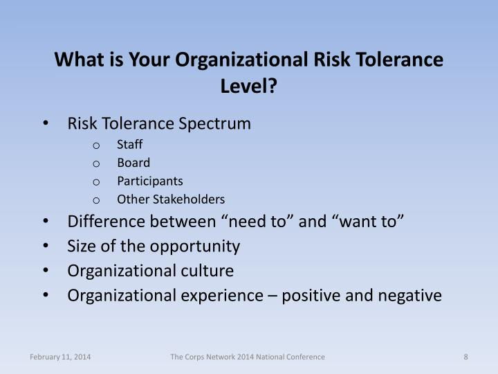 What is Your Organizational Risk Tolerance Level?