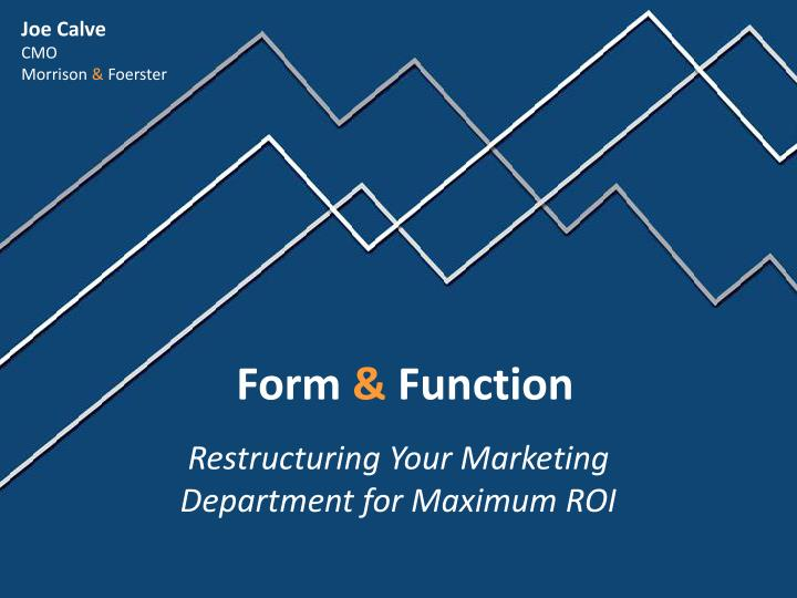 restructuring the marketing function For example, if local conditions are a predominant factor then stress local sales  and marketing functions rather than a centralised behemoth,.